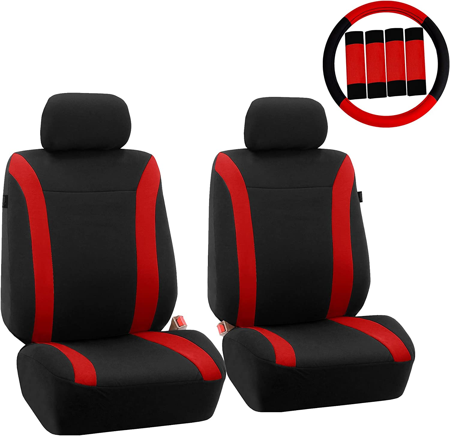 FH Group FH-FB054102 Cosmopolitan Flat Cloth Pair Set Seat Covers, (Airbag Compatible & Split Bench) W. FH2033 Steering Wheel Cover & Seat Belt Pads, Red/Black-Fit Most Car, Truck, SUV, or Van
