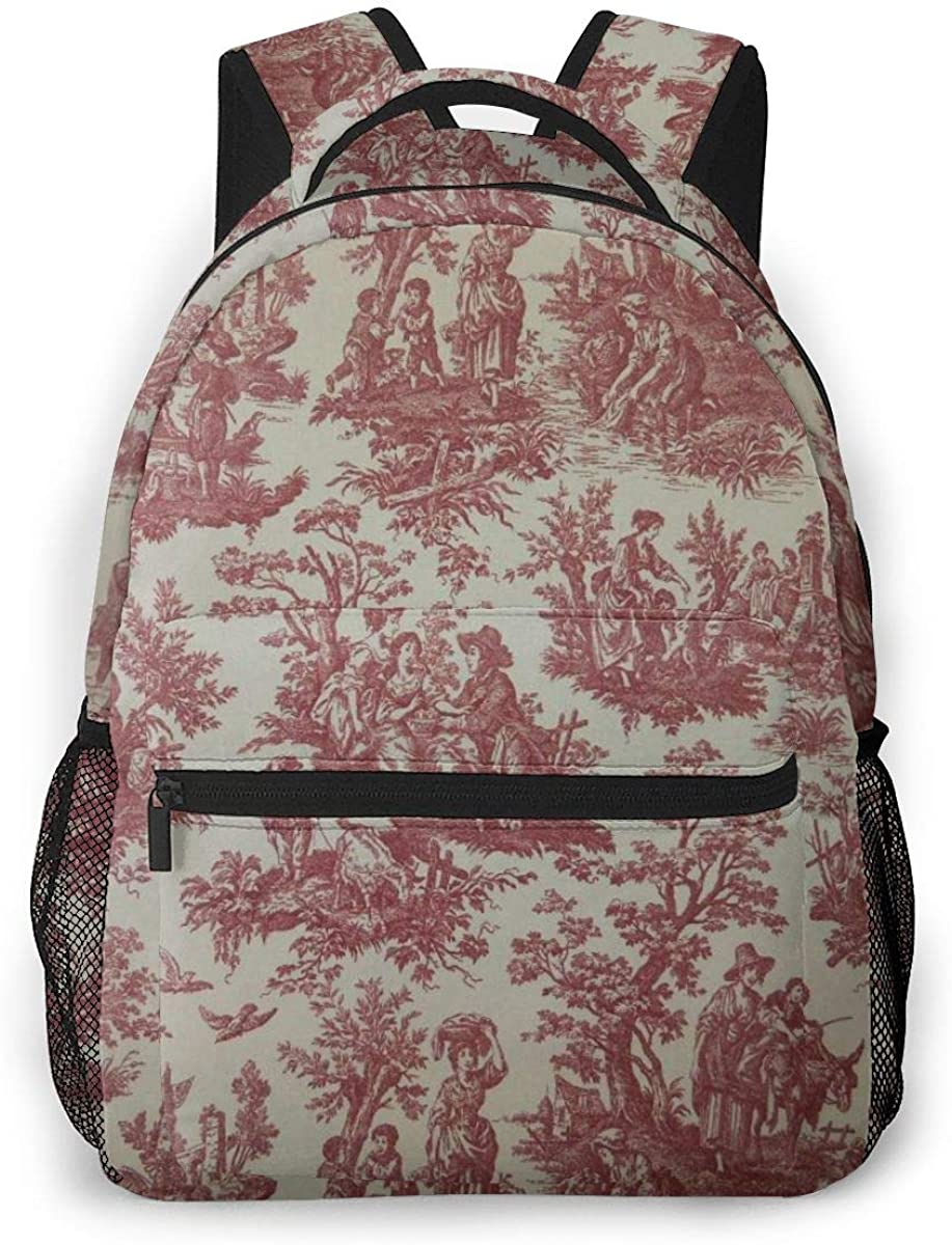 Nautical Toile Pattern Large Backpack Laptop iPad Tablet School Bag with Multiple Pockets