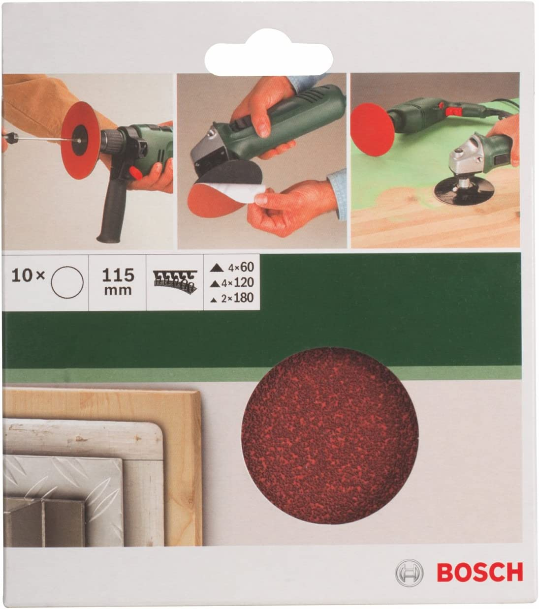 Bosch DIY 10tlg Papierschleifblatt-Set f/ür Winkelschleifer verschiedene Materialien /Ø 115 mm, K/örnung 60//120//180