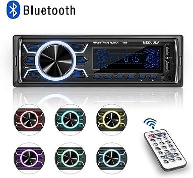 Poste Radio Voiture Bluetooth USB MEKUULA 1 Din Autoradio FM Radio 4x60W Poste Audio avec LCD Microphone Int/égr/é Soutient USB//SD//AUX//Bluetooth//T/él/écommande