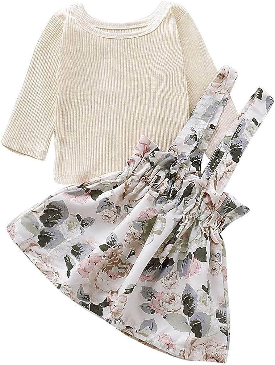 Cute Toddler Kids Baby Girls Clothes T-shirt Tops Strap Skirt Dress Outfits Set