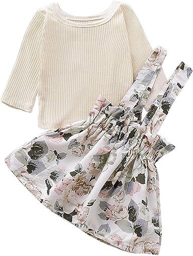 Little Girls Skirt Suits Children Solid Color Long Flare Sleeve Top Skirt Sets