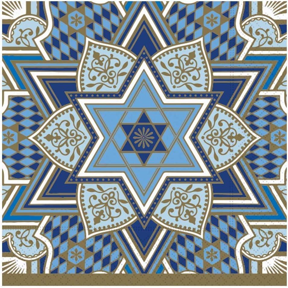 Decorative Paper Napkins Hanukkah Napkins Disposable Hanukkah Party Napkins Stars Blue Napkins Dessert, Lunch 6.5