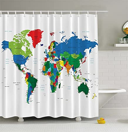 World map shower curtain by chengsan geologist gifts educational world map shower curtain by chengsan geologist gifts educational geographical earth journeys voyager novelty modern gumiabroncs Images