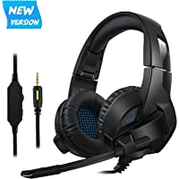 Cocopa Gaming Headset for PS4, PC, Xbox One Controller, Noise Cancelling Over Ear Headphones with Mic, Soft Memory Earmuffs for Laptop Mac Switch Games