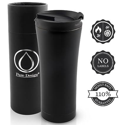 PureDesign Taza de café aislada/Térmica y Elegante - Conveniente para el Viaje/Prueba de la Prueba 450ml en la Caja de Regalo - el 110% Mone Detrás ...