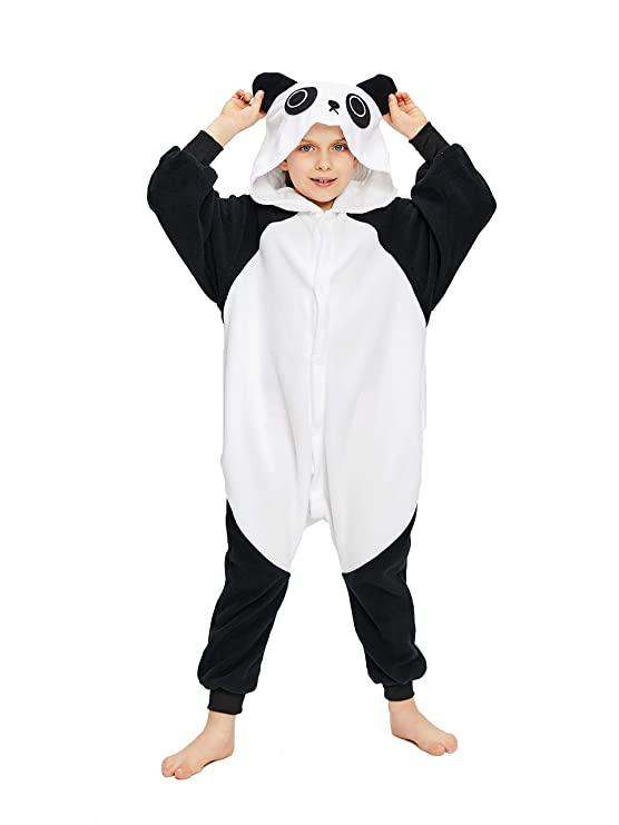 """NEWCOSPLAY Unisex Children Cute Panda Pyjamas Halloween Costume (5-Height 41-46"""", Kung fu)"""