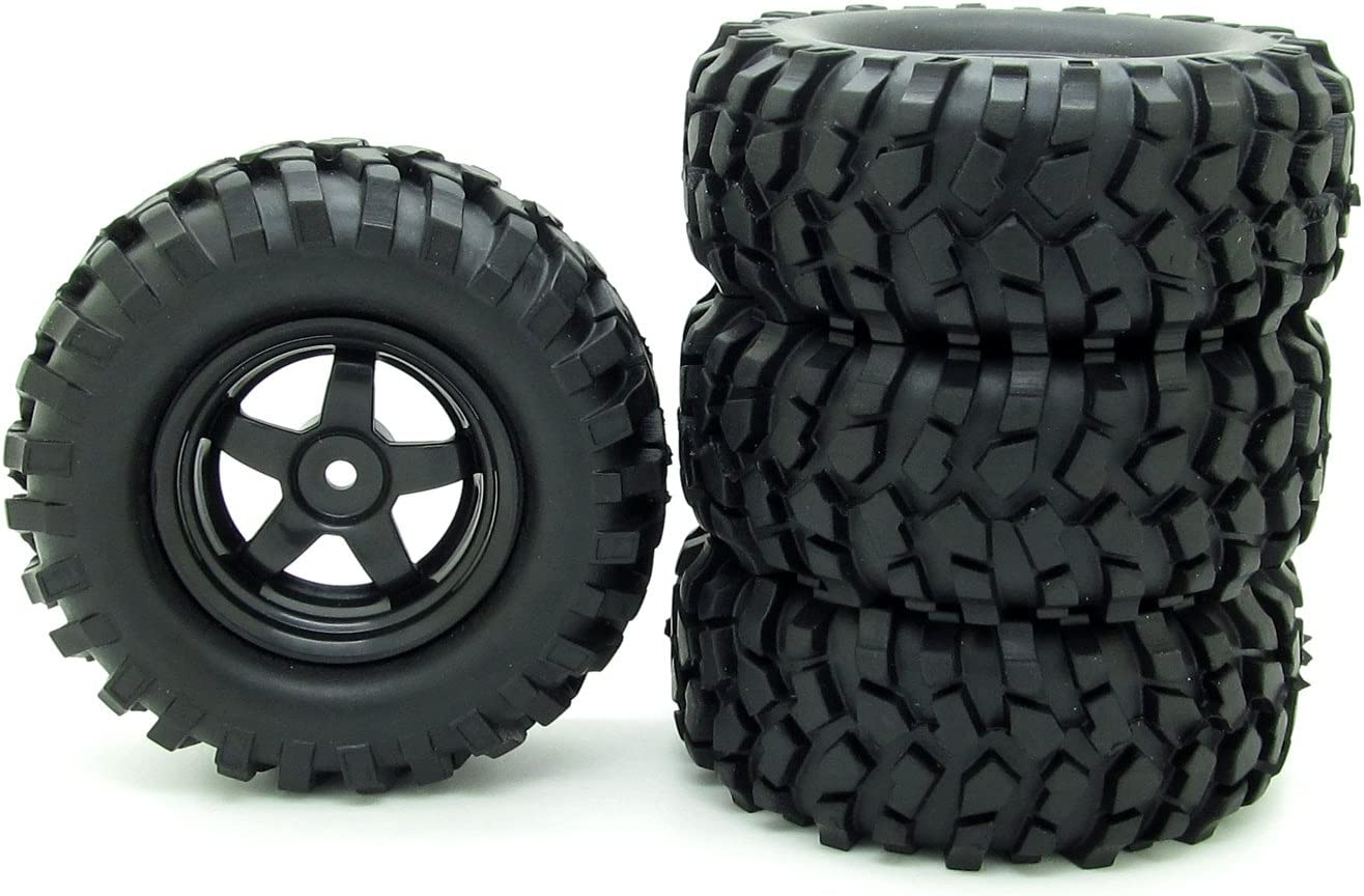 Rubber 4pcs 1//10 Buggy Tires /& White Wheel Rims Front/&Rear Tyres For RC Car