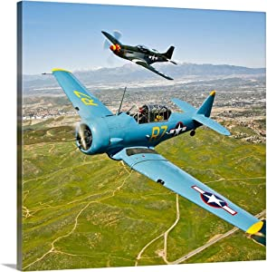 """GREATBIGCANVAS A T-6 Texan and P-51D Mustang in Flight Over Chino, California Canvas Wall Art Print, 20""""x20""""x1.5"""""""