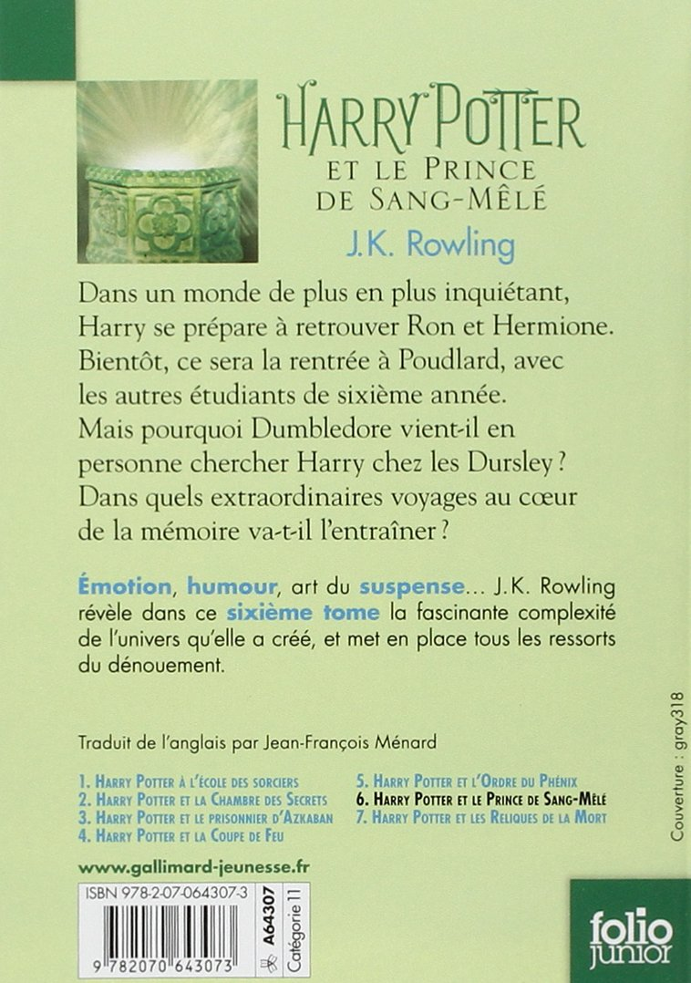 Harry Potter Et Le Prince De Sang Mele (French Edition): J. K. Rowling:  9782070643073: Amazon.com: Books  Harry Potter Resume