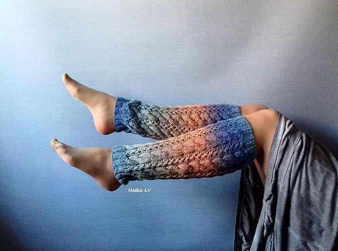 Amazon.com: Knit leg warmers, wool leg warmers, long cable ...