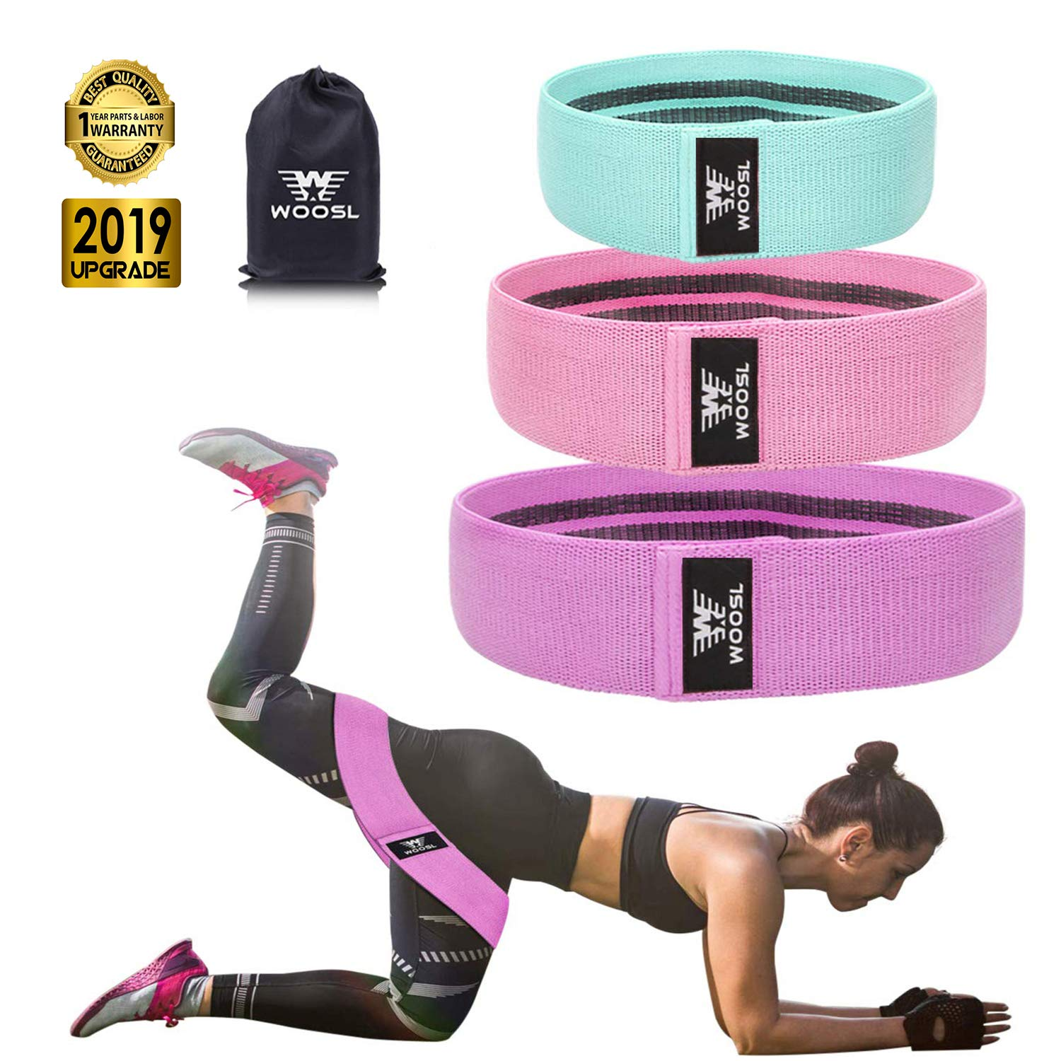 WOOSL Resistance Bands Booty Bands Loop Exercise Bands Workout Bands Hip Bands Booty Band with Fabric Anti-Slipping Glute Wide Resistance Bands for Legs and Butt Cotton Fitness Loop, Purple by WOOSL (Image #1)