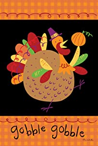 Toland Home Garden Turkey Pilgrim 12.5 x 18 Inch Decorative Fun Thanksgiving Gobble Garden Flag