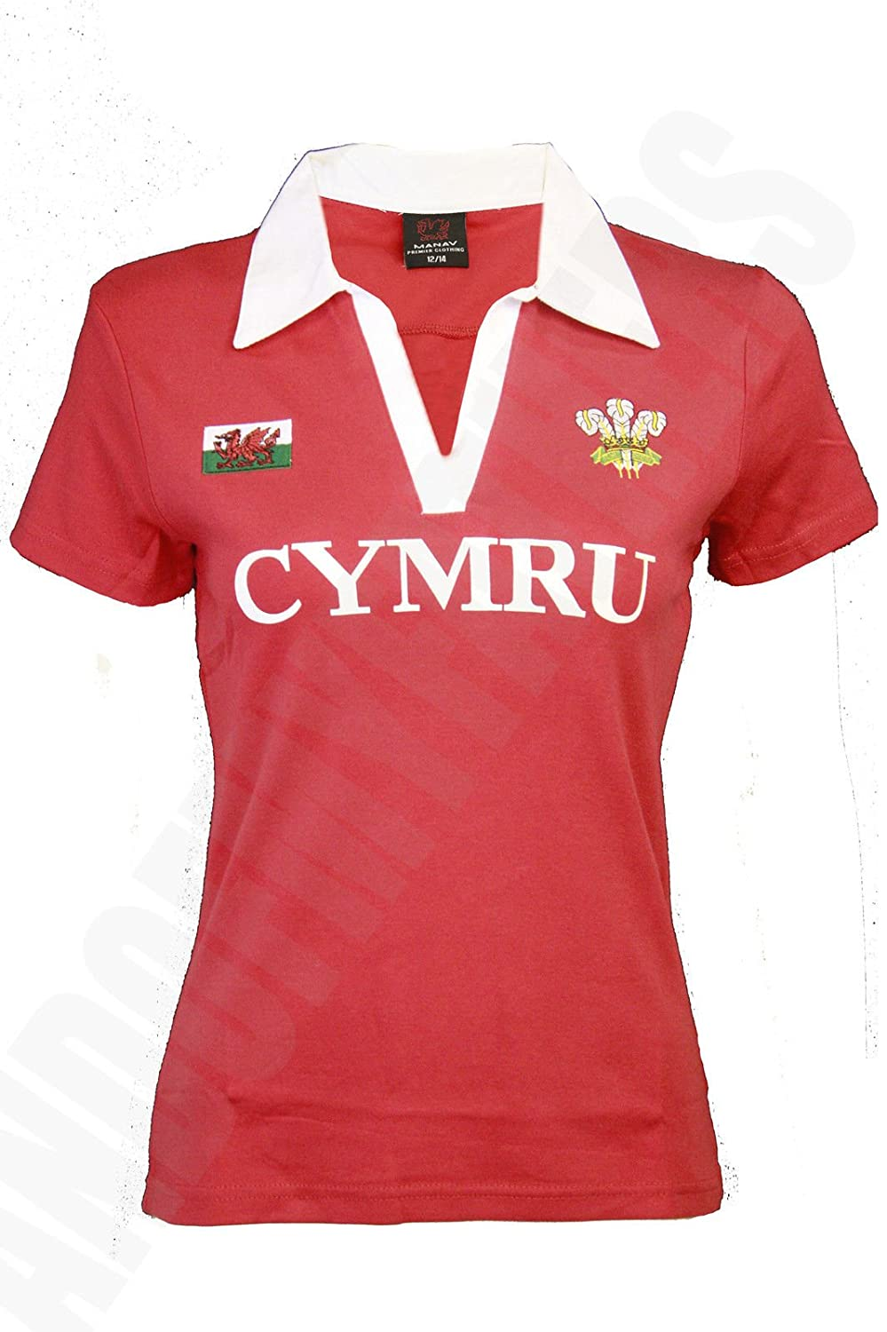 Wales Welsh Short Sleeve 'Red & White' Ladies Rugby Shirt (10/12)