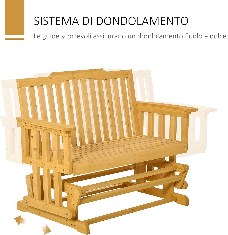 Outsunny Panchina a Dondolo da Giardino e Terrazza per 2 Persone con Braccioli 124x76x95cm Legno Naturale