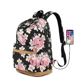 Gudelaa Mochila de patrón de Flores Oxford Tela Chica Mochila de Estudiante con Interfaz USB Mochila Informal Negro: Amazon.es: Hogar