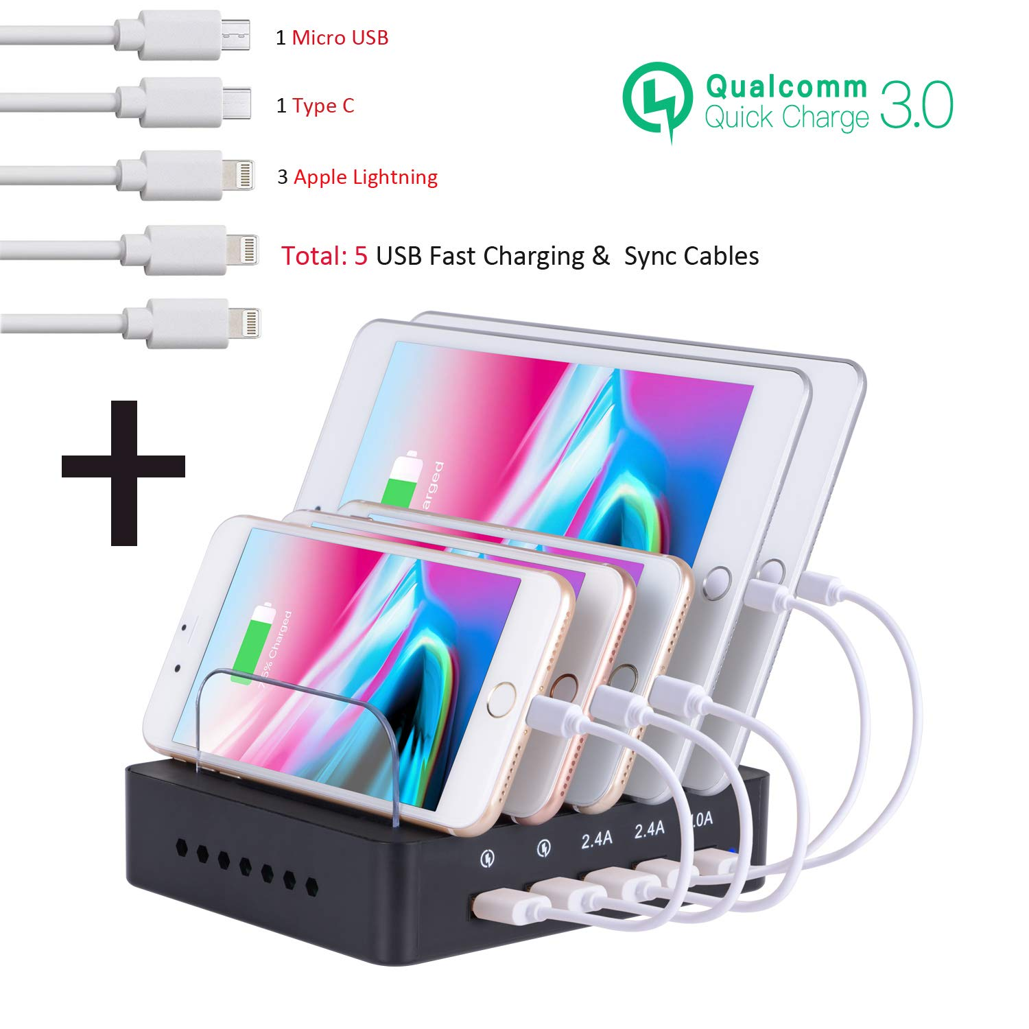 Charging Station with QC 3.0 Quick Charge, OthoKing 5 Port Charging Dock Stand & Phone Organizer for Multiple Devices (5 Cables Included) Total Output 65W