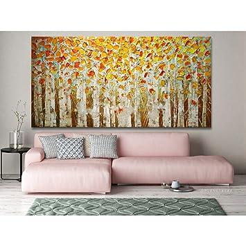 Gbwzz Dipinto a Mano su Tela Pittura a Olio Giallo Foresta ...