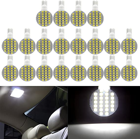 cciyu 20 Pack whiteT10 Wedge 24SMD LED Instrument Light W5W 168 194