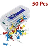 UNITEV Push Pins, Multicolor Plastic Head Push Thumb pins for Notice Board with a Reusable Storage Box (50)