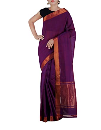 8f41bf86b4 Image Unavailable. Image not available for. Colour: Unnati Silks Women  -Purple Pure Handloom Mangalagiri Cotton Plain Saree