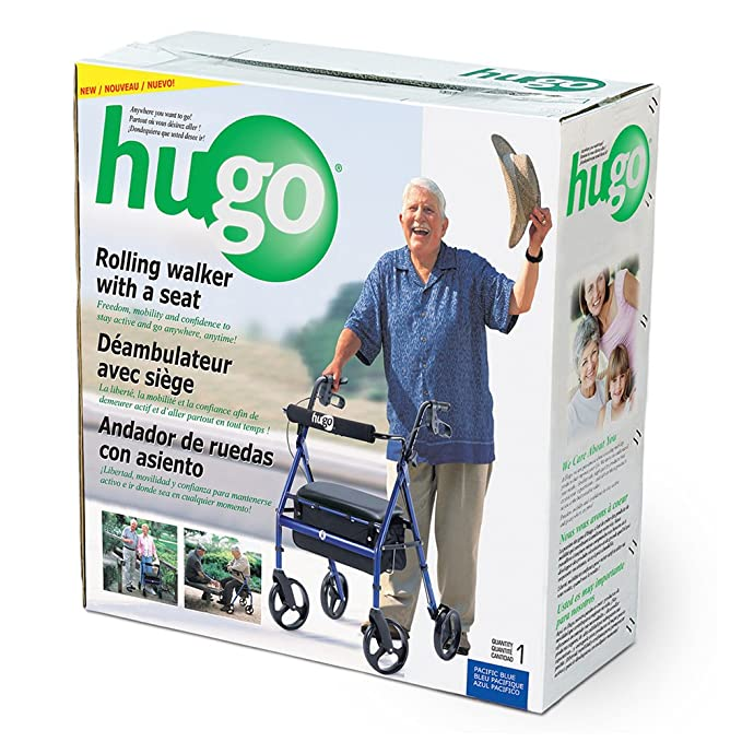 Hugo Portable Rollator Walker with Seat, Backrest and 8 Inch ...