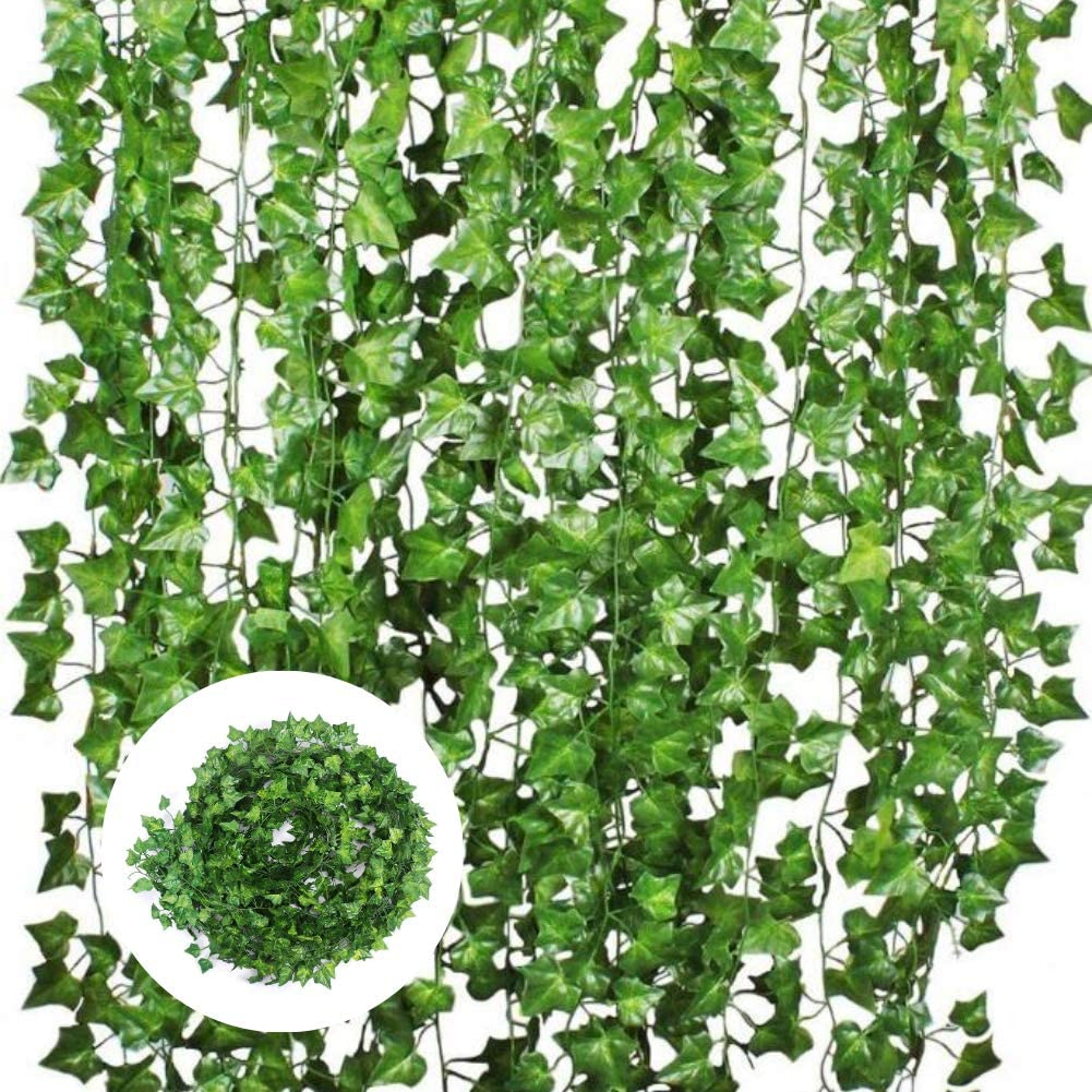 Adeeing 12 Strands Artificial Vines Ivy Green Leaves Hanging Garland Plants for Home Kitchen Garden Office Wedding Wall Decor (Sweetpotato Leaves)