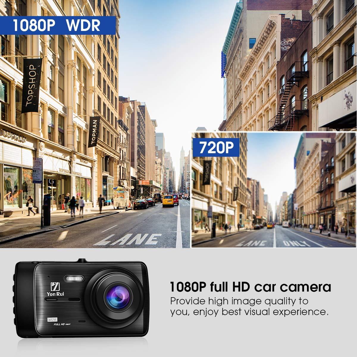 Upgraded Version Dash Cam Dashboard Camera Recorder Rear Camera-4 Full HD 1080P Car DVR Dashboard Camera G-Sensor Parking Guard Loop Recording YonRui Dash Camera Dash CameraYR907 WDR