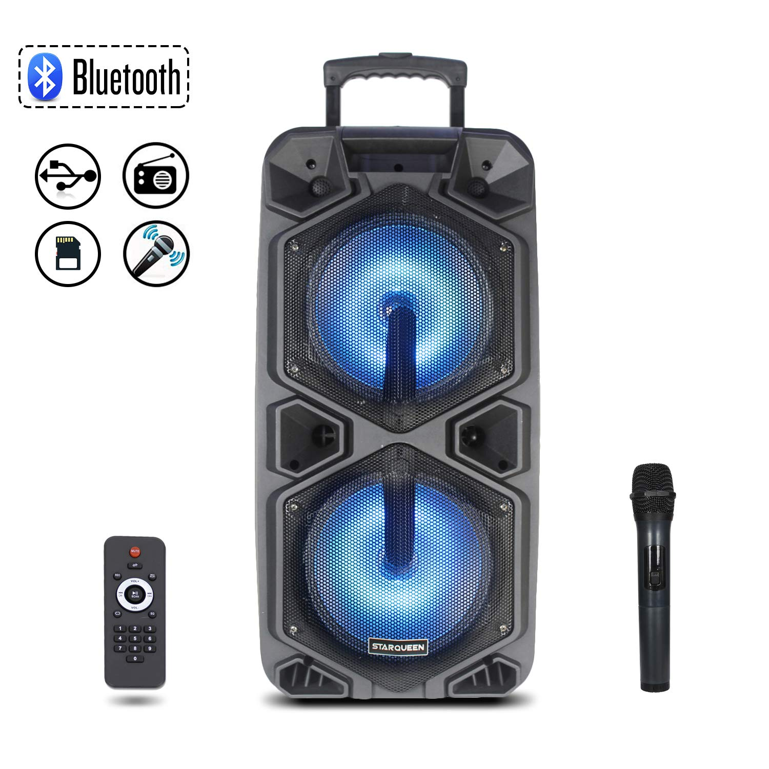 Starqueen Portable Bluetooth PA Speaker Dual 10'' Woofers with Wireless UHF Microphones, Rechargeable Battery Powered Karaoke Loudspeaker Active DJ Party Speaker with LED Light, FM/MP3/USB/TF Card/AUX