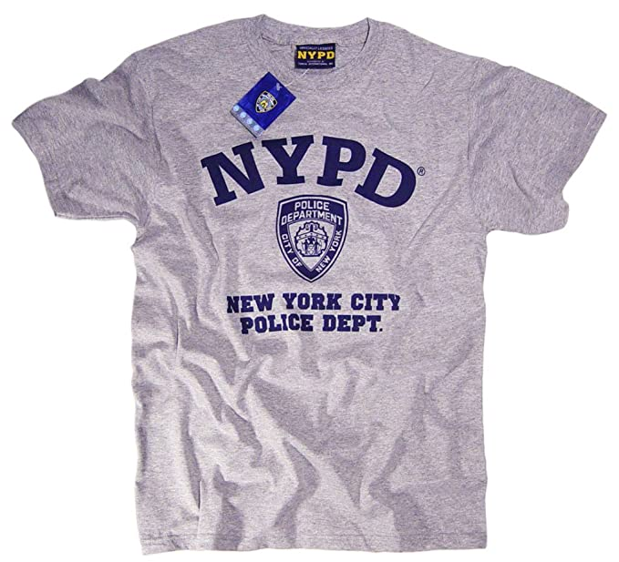 00eba7f94 Amazon.com: NYC FACTORY NYPD Short Sleeve Navy Print Logo T-Shirt ...