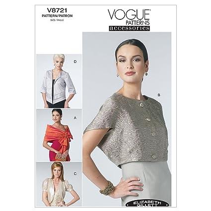 Vogue Patterns V8721 - Patrones de costura para chaquetas torera y mantones de mujer (talla