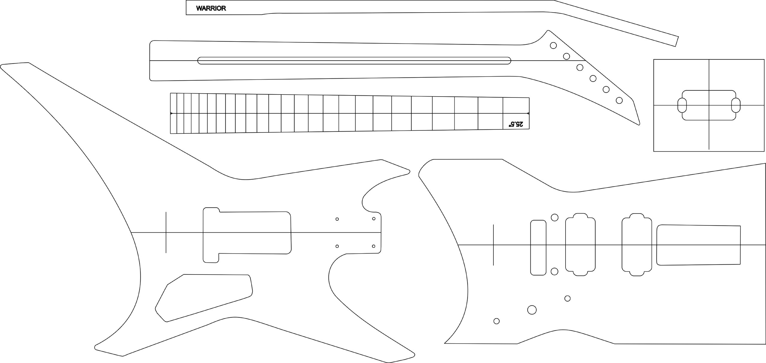 Electric Guitar Layout Template - Warrior