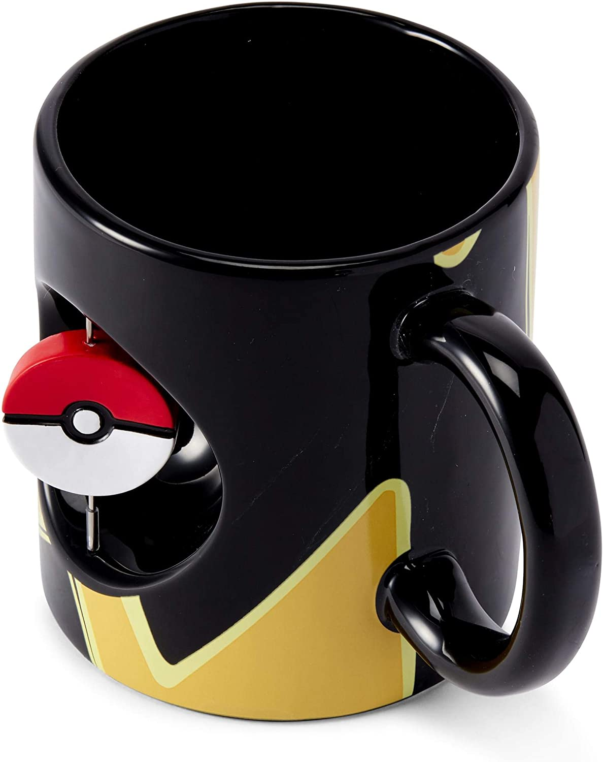 Official Pokemon Mug - 16.9-Ounce Black Ceramic Cup for Hot Coffee, Tea, Cocoa - Novelty Drinkware w/ Pokeball Spinner - Features Pikachu - Perfect for Home, Office, Parties - Licensed Merchandise