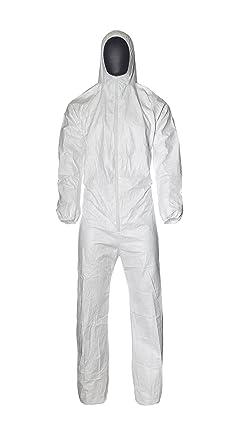 DuPont ProShield 4 Practik | Ropa de Protección Química con Capucha y Elásticos | Con Interior Antiestático | Blanco | Talla XL