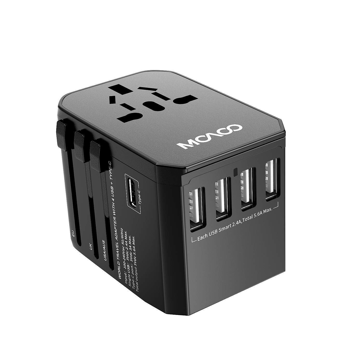 Universal Travel Power Adapter, MOAOO International All in One Worldwide Europe Charger Adaptor AC Power Plug European Adapter with 4 USB Ports 1 Type-C Port for USA UK EU AUS Asia, Black
