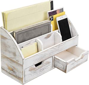MyGift 6-Compartment Shabby Whitewashed Wood Desktop Office Supplies Organizer with 2 Drawers