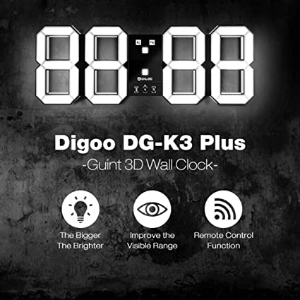 Reloj de alarma digital de pared LED 3D, DIGOO DC-K3 Plus Reloj de