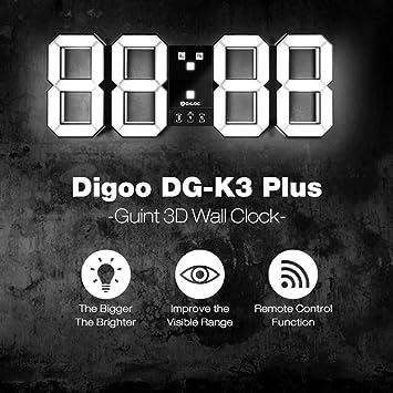 Reloj de alarma digital de pared LED 3D, DIGOO DC-K3 Plus Reloj de alarma digital multifunción con función de alarma Función de visualización de 12/24 ...