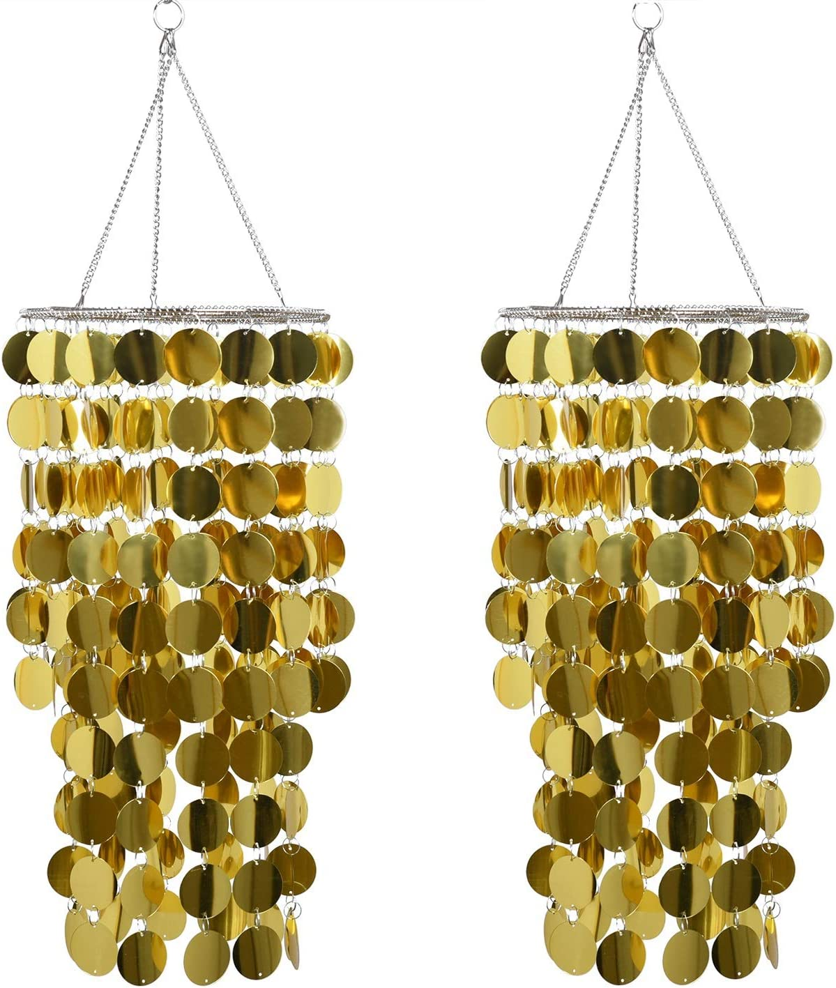 2pcs Gold Bling Hanging Chandelier,W8.5 H18 ,Great idea for Wedding Chandeliers Centerpieces Decorations and Any Event Party Decor (Gold-2 pcs)