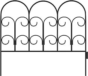 Pure Garden 50-LG5058 Metal Garden Fencing-Set of 5 Panels, Black