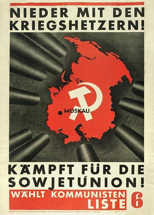 Alemán de entreguerras Propaganda Comunista con la guerra ...