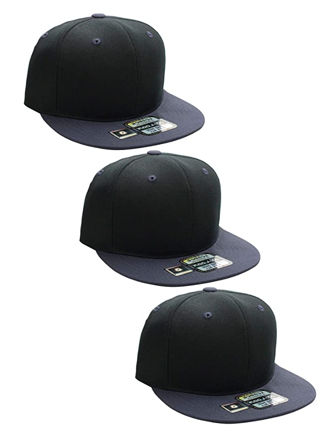 bcd315a0 L.O.G.A Plain Flat Bill Visor Blank Snapback Hat Cap with Adjustable Snaps  - 2 Pk - Bk, Bk/Ch at Amazon Men's Clothing store: