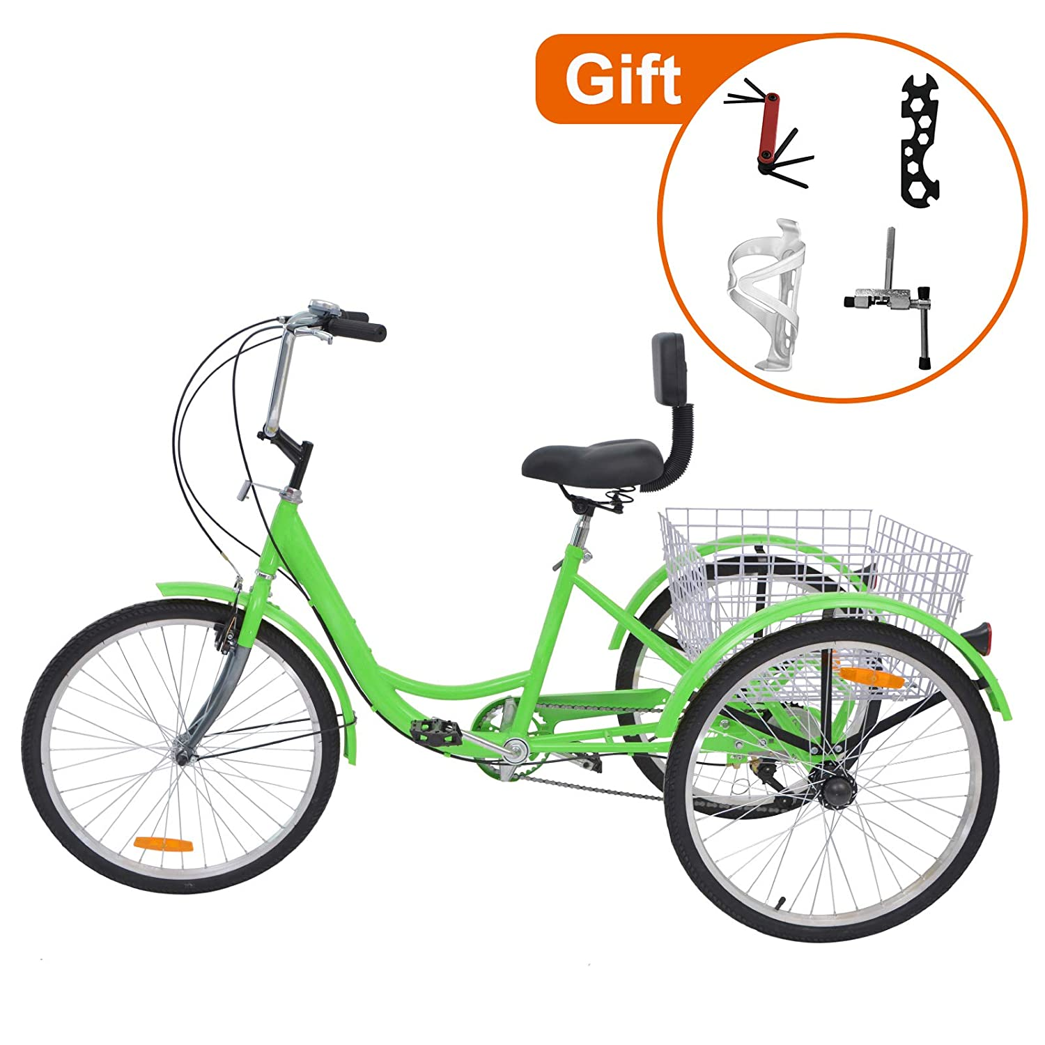 24-Inch Single and 7 Speed Three-Wheeled Cruise Bike with Large Size Basket for Recreation Barbella Adult Tricycle Exercise Mens Womens Bike Shopping