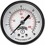 Winters PEM Series Steel Dual Scale Economy Pressure Gauge, 0-30 psi/kpa, 2' Dial Display, -3-2-3% Accuracy, 1/4' NPT…