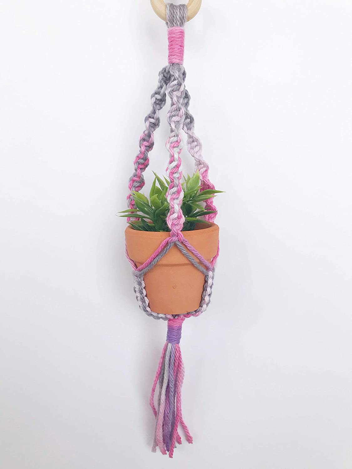Amazon Com Mini Macrame Plant Hanger Rear View Mirror Car