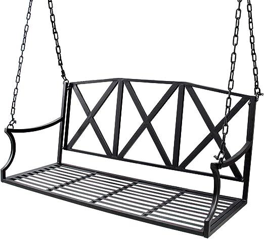Bizzoelife - Banco columpio de metal para patio o porche con cadenas de hierro para jardín (1, 22 m), color negro: Amazon.es: Jardín