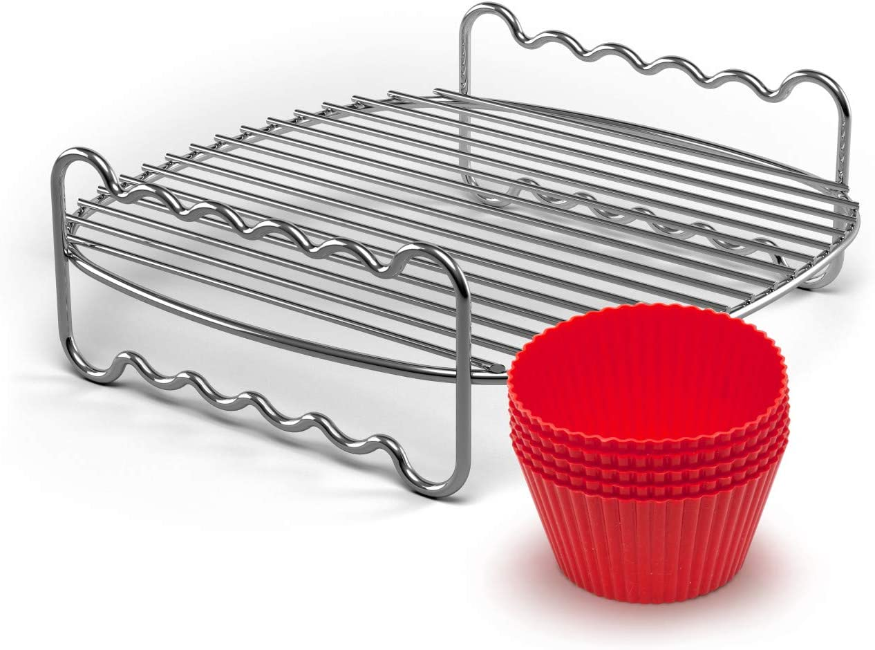 Philips Kitchen Appliances Party Master Accessory Kit with Double Layer Rack and Silicone Muffin Cups-for Philips Compact Airfryer models HD9904/01, Silver/Red