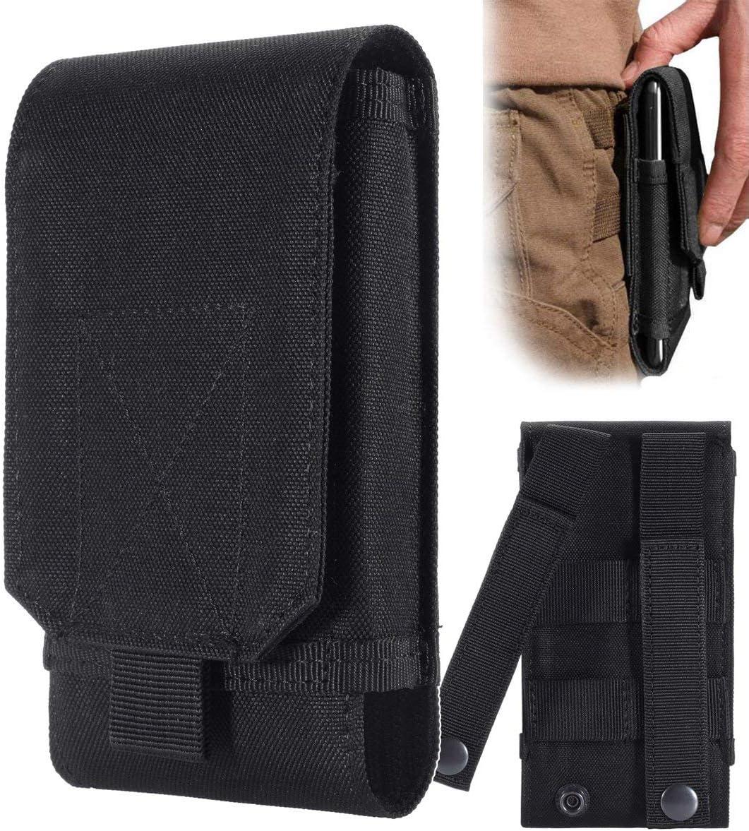Funda de Urvoix para enganchar al cinturón y llevar el teléfono móvil, diseño militar de camuflaje, color negro, tamaño L