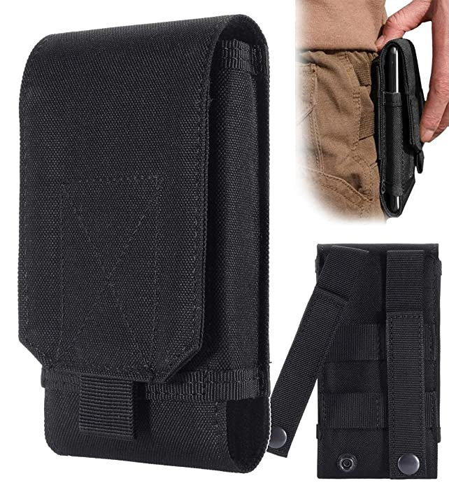 Urvoix(TM) Black Army Camo Molle Bag for Mobile Phone Belt Pouch Holster Cover Case Size L