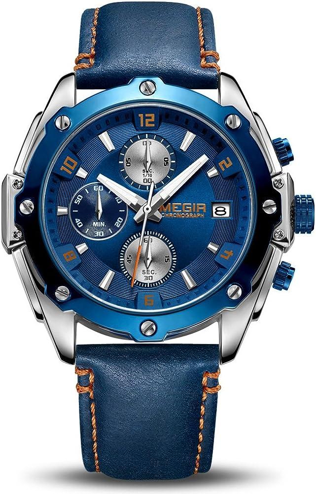 Relojes Hombres Cronógrafo Analógico Cuarzo Reloj Impermeable Deporte Reloj